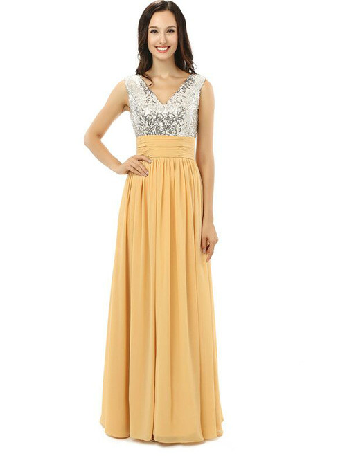 Yellow Chiffon Silver Sequins V-neck Backless Bridesmaid Dress