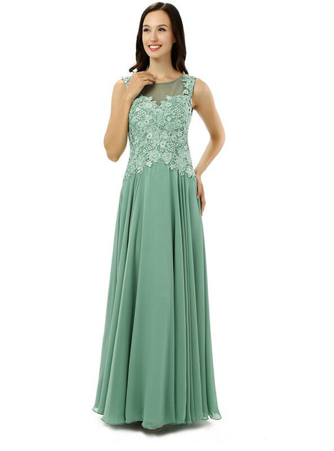 Green Chiffon Lace Scoop Backless Floor Length Bridesmaid Dress
