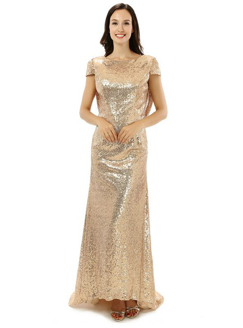 Sheath Gold Sequins Cap Sleeve Backless Bridesmaid Dress