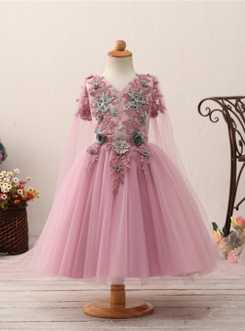 Purple V-neck Short Sleeve Tulle Appliques Flower Girl Dress