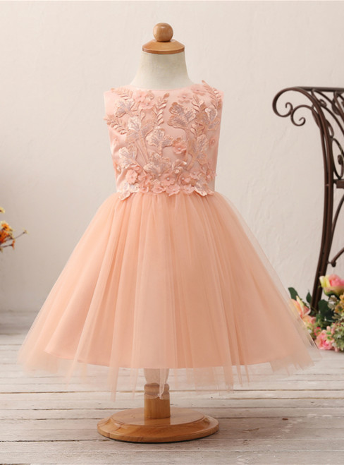 Orange Tulle Appliques Sleeveless With Bow Flower Girl Dress