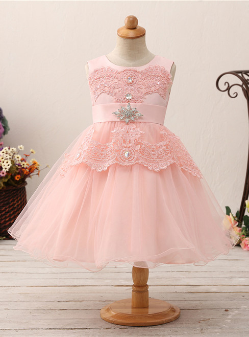 Pink Tulle Lace Appliques With Crystal Bow Flower Girl Dress