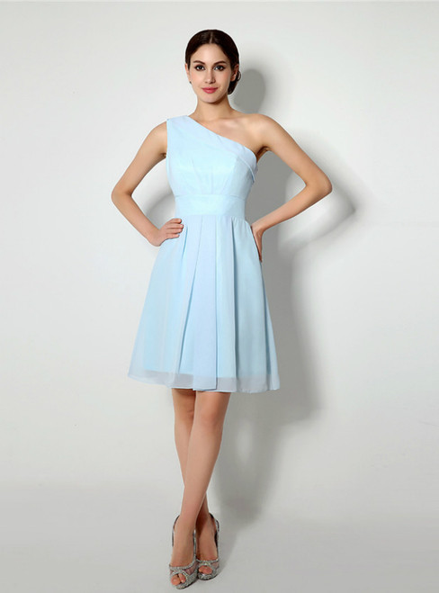 Light Blue One Shoulder Chiffon Knee Length Homecoming Dress