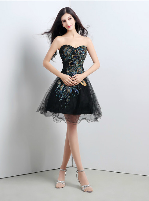 Black Sweetheart Tulle Embroidery  Crystal Homecoming Dress