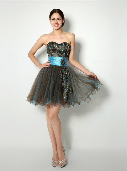 Short Sweetheart Neck Embroidery With Crystal Homecoming Dress
