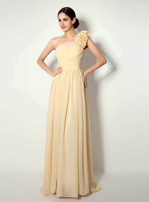 One Shoulder Chiffon With Flower Pleats Bridesmaid Dress