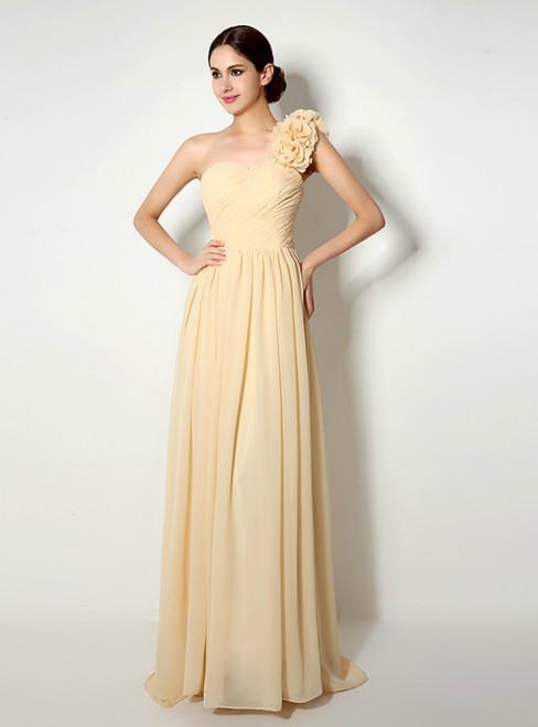 One Shoulder Chiffon With Flower Pleats Bridesmaid Dress