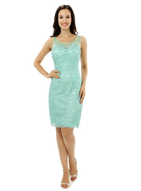 Mermaid Green Short Lace Knee Length Mother Of The Bride Dress