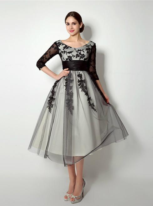 Black Lace Tulle 3/4 Sleeve Tea Length Prom Dress