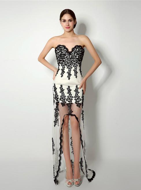 Mermaid Hi Lo Black Lace Appliques Sweetheart Neck Prom Dress