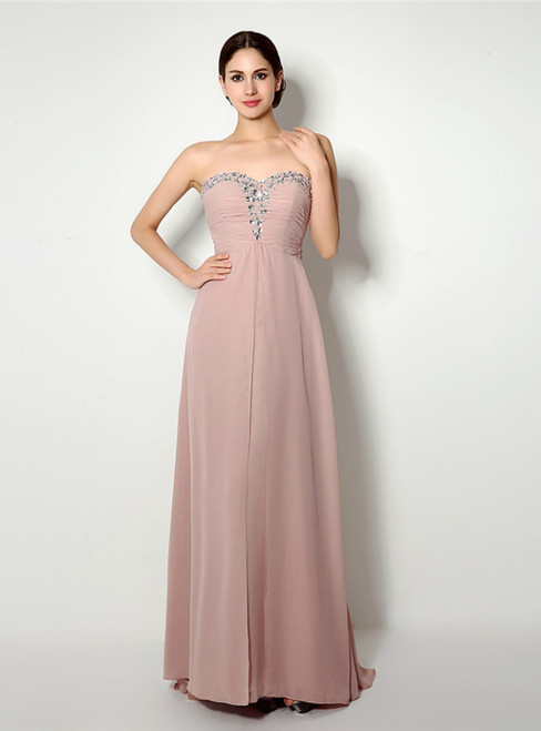 Pink Sweetheart Chiffon Beading Floor Length Prom Dress