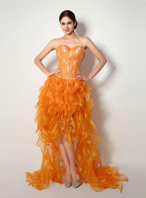 Orange Hi Lo Organza Sweetheart With Beading Prom Dress