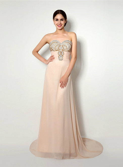 Champagne Chiffon Sweetheart Neck With Beading Prom Dress