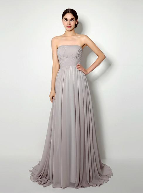 Gray Strapless Chiffon Pleats Sleeveless Prom Dress
