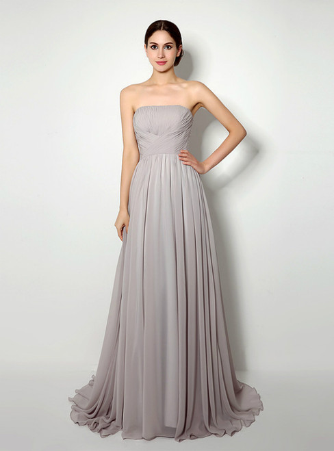 Gray Strapless Chiffon Pleats Sleeveless Prom Dress
