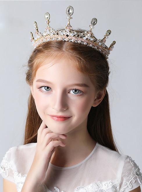 Children's Crown Tiara Crown Crystal Pink Rhinestones