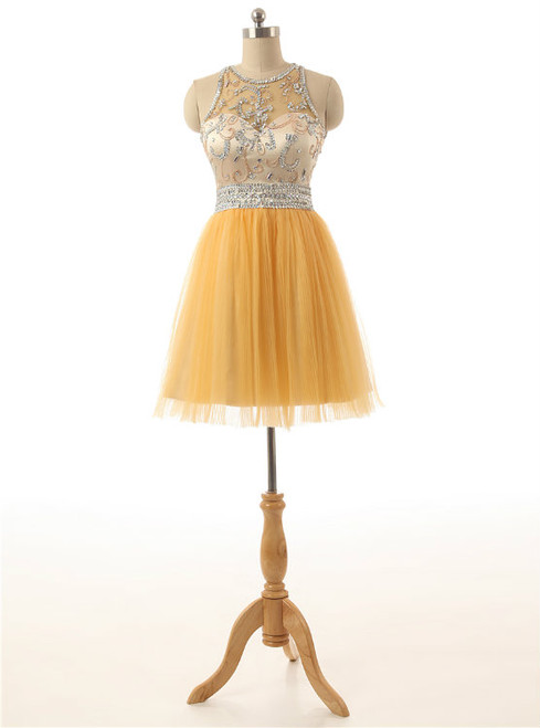 Short Yellow Tulle Prom Party Dresses,A Line Homecoming Dresses