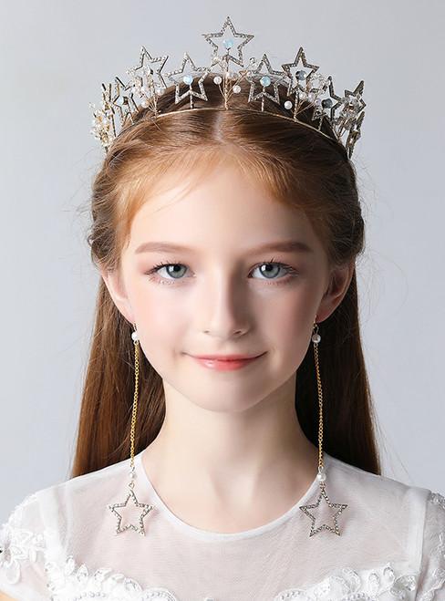 Children's Crown Tiara Princess Hair Accessories Golden Rhinestones