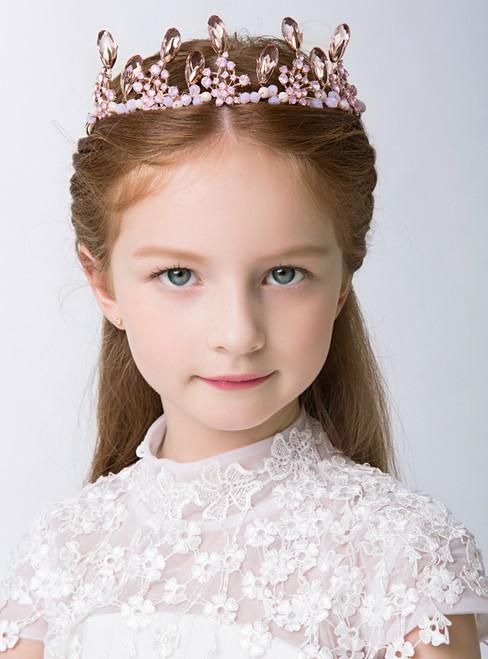 Girl Crown Pink Tiara Crown Flower Girl Rhinestone Hairpin