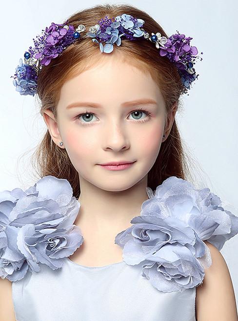 Girl Headdress Flower Cinderella Blue Hair Accessory