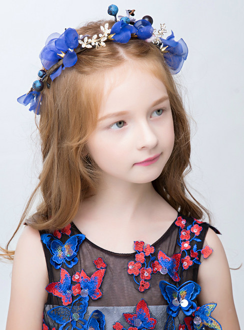 Princess Hair Crown Tiara Hairpin Blue Flower Hairband