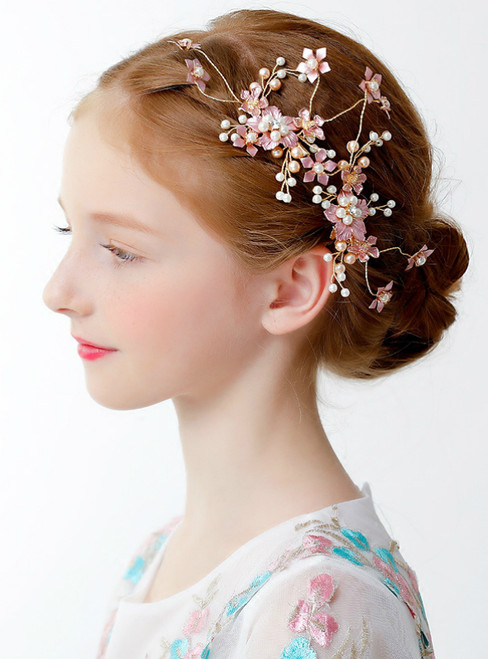 Girl Hair Accessories Princess Crown Clip Pink Flowers