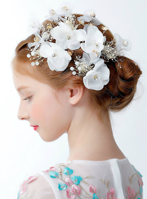 Princess Crown Hair Accessories With White Flowers On The Side