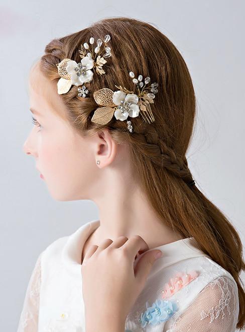 Princess Hair Accessories Golden 2 Piece Flower Children Hairpin Clip