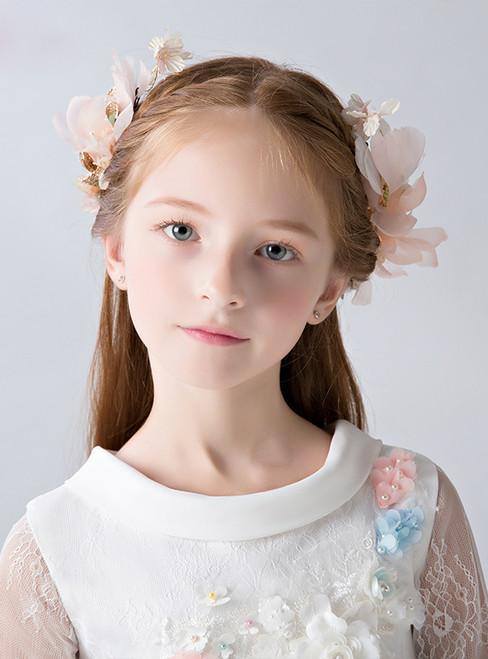 Princess Hairpin Pink  Flower 2 Piece Hair Accessories Girl Hairpin