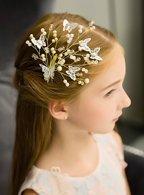 Children's Headwear Hairpin Princess White Butterfly Hairband