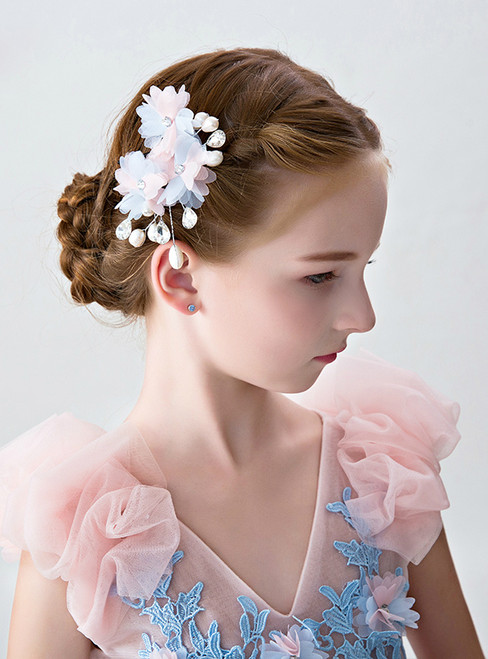 Flower Girl Hairpin Clip For Girls' Pink Hair Accessories