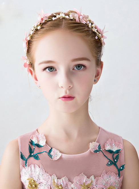 The Girl Crown Of Princess Pink Flower Gold Dragonfly Hairband