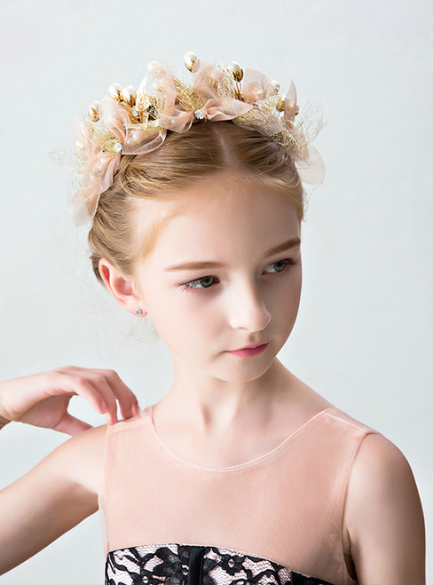 Children's Gold Lace Pearls Hair Flower Princess Hairband Crown