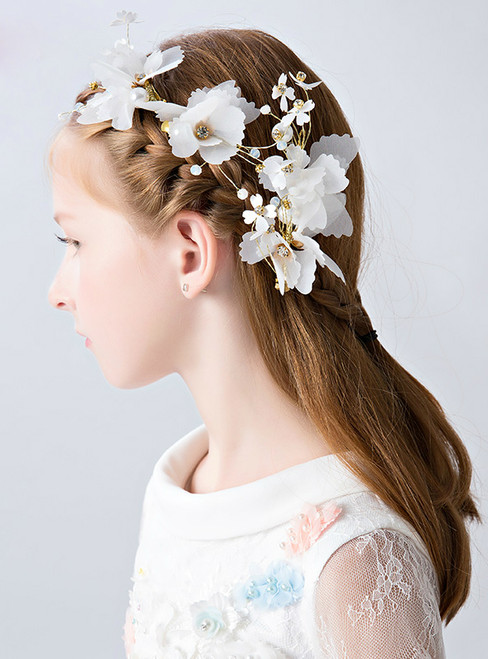Children's Flowers White 3 Piece Hair Accessories Hairpin