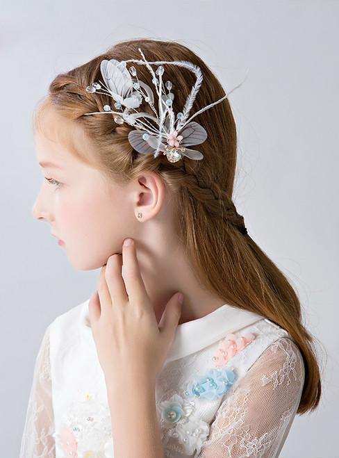 Girl Feather Headdress 2 Piece Flower Girl Hair Accessories