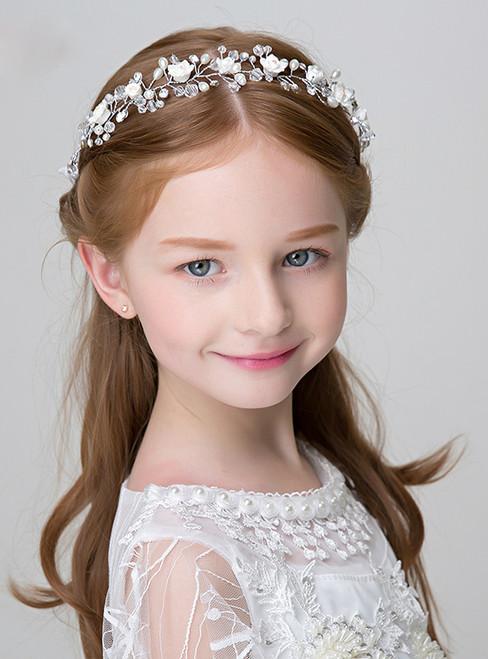 Girl Princess Hairband White Imitation Pearl Headdress