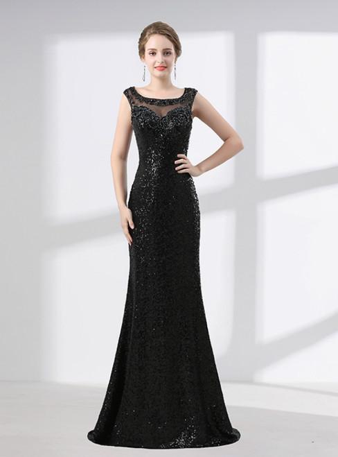 Black Mermaid Sequins Floor Length Beading Prom Dress
