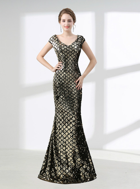 Gold Mermaid V-neck Cap Sleeve Sequins Prom Dress