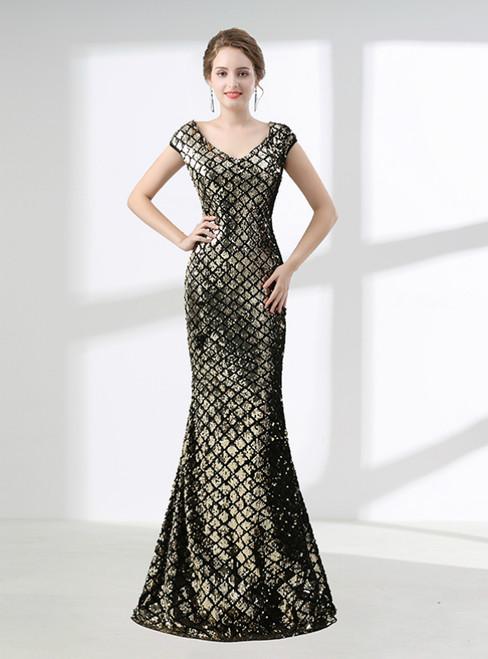 Gold Mermaid V-neck Cap Sleeve Sequins Prom Dress