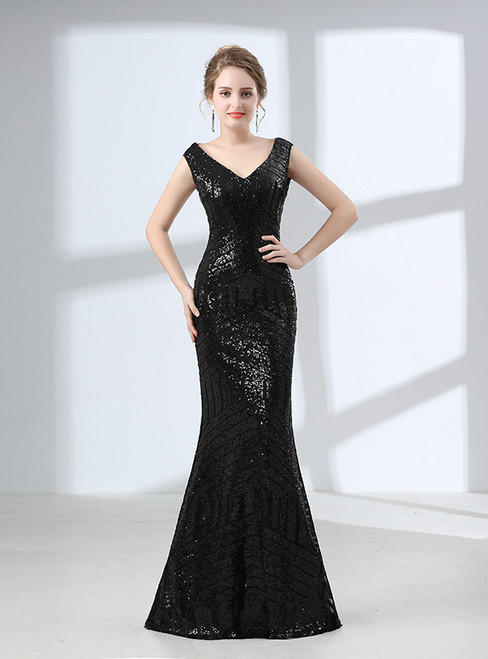Black Mermaid Sequins V-neck Backless Prom Dress