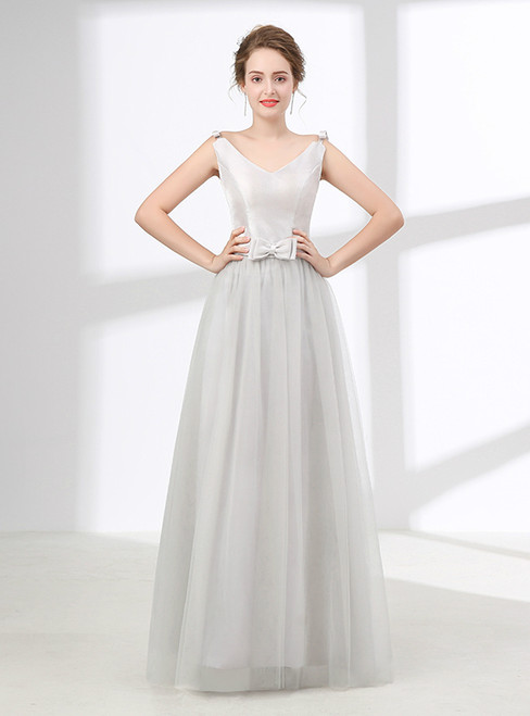 Gray V-neck Tulle Floor Length With Bow Prom Dress