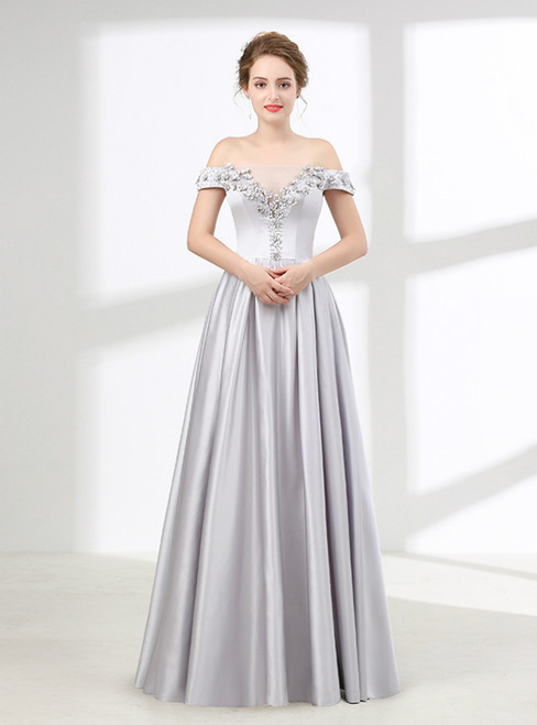 Silver Gray Off The Shoulder Satin With Flower Prom Dress