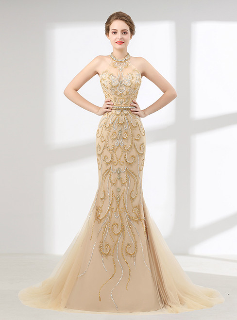 Champagne Mermaid Halter Tulle Beading Prom Dress