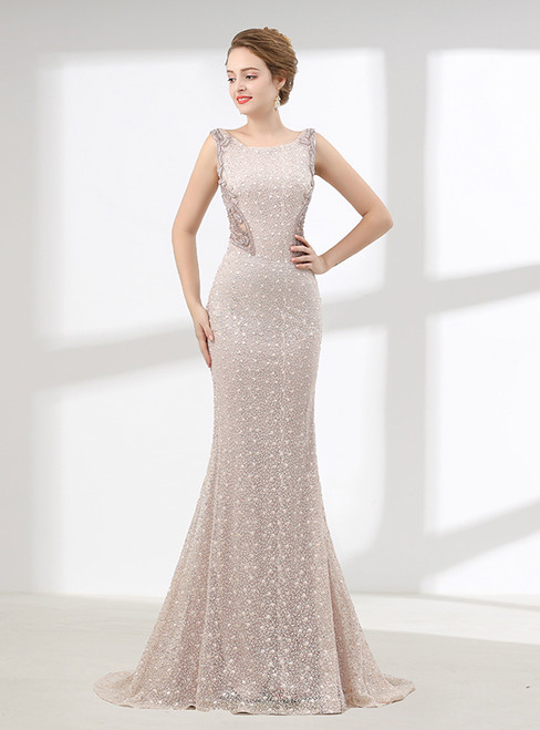 Sexy Mermaid Lace Bateau Sleeveless With Beading Prom Dress