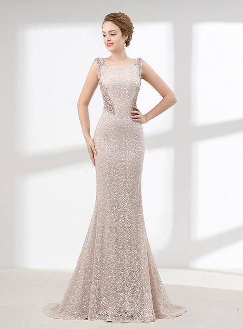 Sexy Mermaid Lace Bateau Sleeveless With Beading Prom Dress