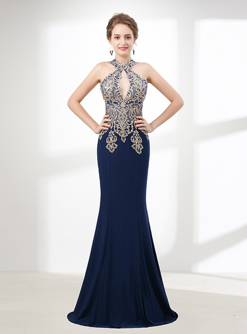 Mermaid Blue Halter Appliques Cut Out Prom Dress