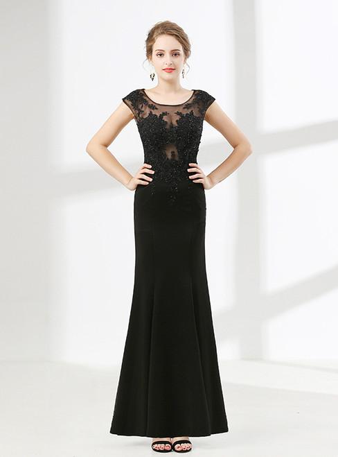 Black Mermaid Cap Sleeve Appliques Beading Prom Dress