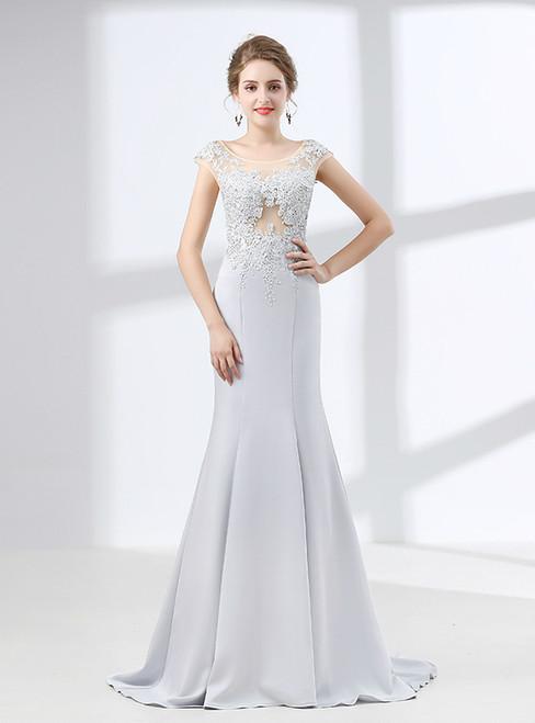 Mermaid Silver Gray Cap Sleeve Appliques Prom Dress