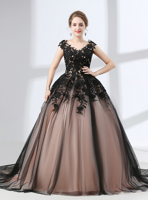 Black Tulle Ball Gown Appliques Sleeveless Prom Dress