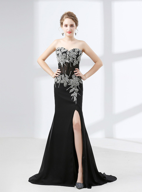 Black Mermaid Chiffon Appliques Beading Prom Dress With Split